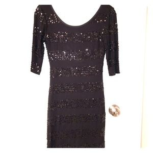 Black Sequin New Year's Eve / Party Minidress